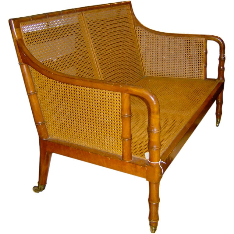 Faux Bamboo Caned Settee At 1stdibs