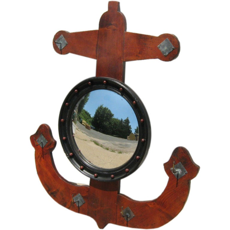 Antique convex anchor mirror