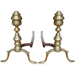 Double Lemon Brass Andirons
