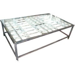 Huge Glass Top Antique Iron Gate Coffee Table