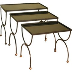 Mid-Century French Nesting Tables with Glass Tops in the Style of Jean Royère
