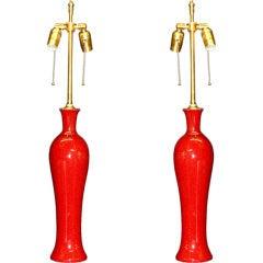 Pair of Terra-Cotta Ceramic Vases with Lamp Application