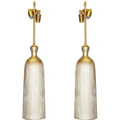 A pair of Champagne Textured Ceramic vessels with lamp application