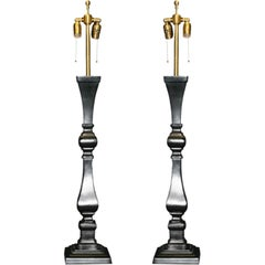 Pair of tall lacquered metal Architectural Balustrade lamps
