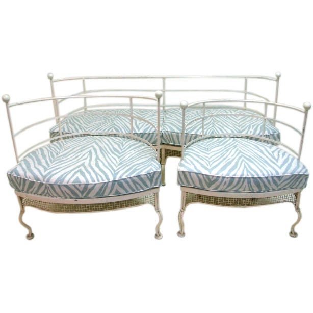 French Iron Loveseat And Chairs Set In Zebra Print Fabric At 1stdibs