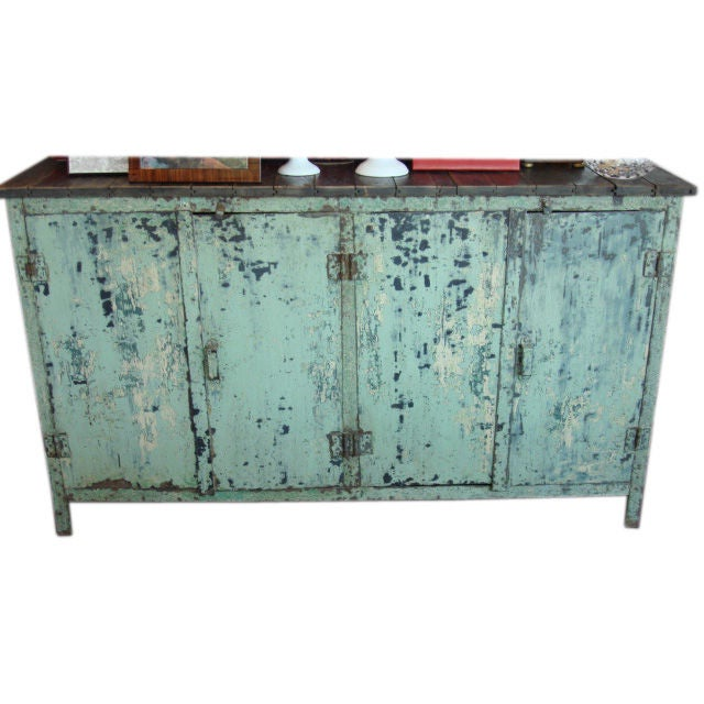 Distressed Blue Painted Metal And Wood Buffet At 1stdibs
