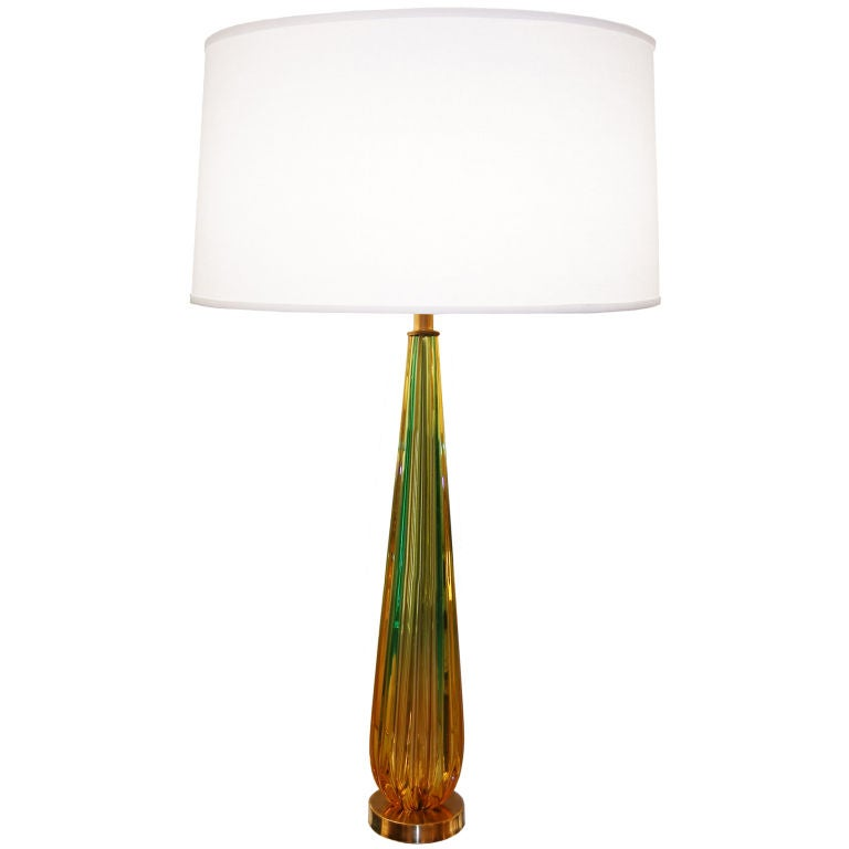 seguso amber and green fluted glass lamp for sale at 1stdibs