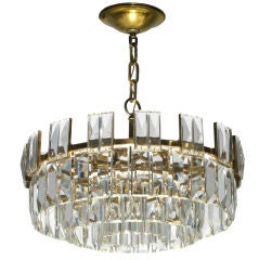 Round Chandelier with Cut Crystals by Lobmeyer