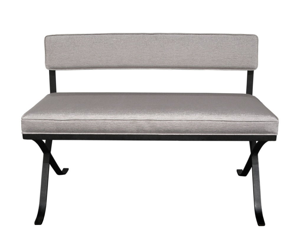 X Base Bench In Wrought Iron At 1stdibs
