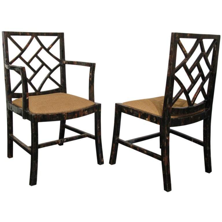 Regency Dining Room: Set Of 8 Hollywood Regency Style Dining Chairs Covered In