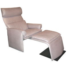 Chair and Ottoman in Pearlescent Leather by Saporiti Italia
