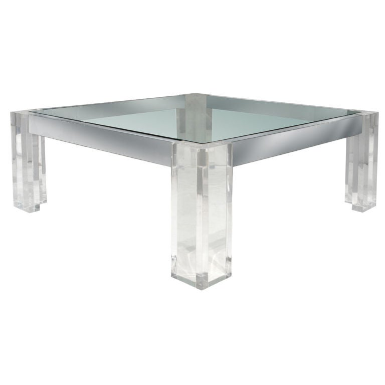 Coffee Table In Thick Lucite And Chrome By John Mascheroni
