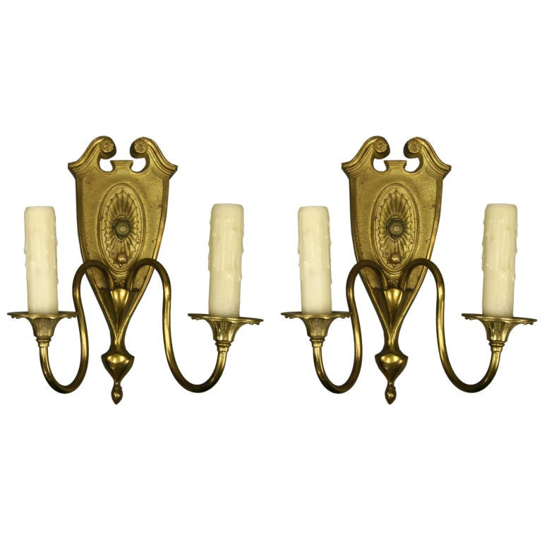 Pair of circa 1930s Arch Top Satin Brass Sconces For Sale