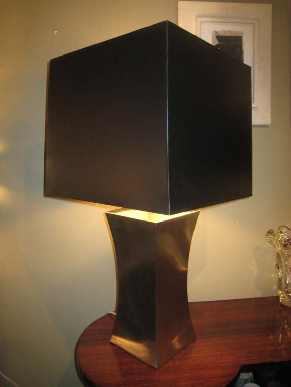 Francoise See Large Brushed Steel Lamp In Good Condition For Sale In Brooklyn, NY