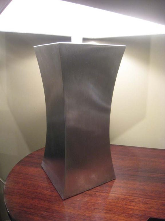 20th Century Francoise See Large Brushed Steel Lamp For Sale