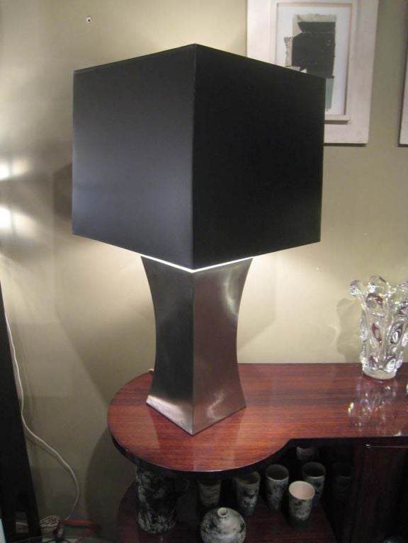 French Francoise See Large Brushed Steel Lamp For Sale