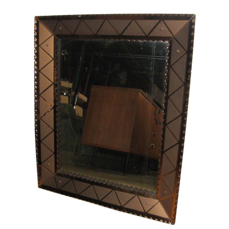 Art Deco Colored Etched Mirror