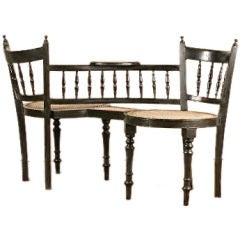 Anglo-Indian Ebony Tete-A-Tete Chair