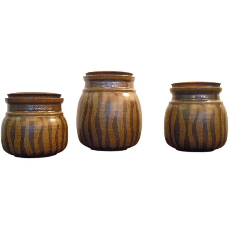 Three Victoria Littlejohn Studio Stoneware Jars At 1stdibs