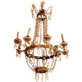 19th c. Tole and Crystal Chandelier