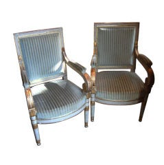 Pair Consulate Painted and Gilded Jacob Chairs