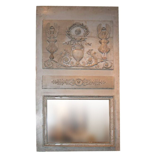 19thc. Painted Trumeau mirror