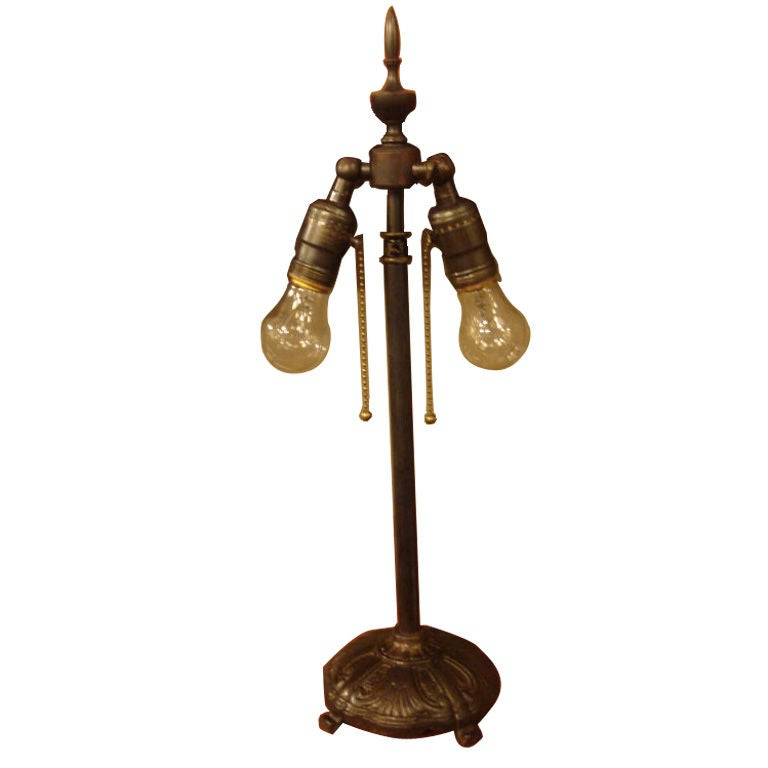 Antique Library Lamp With Double Edison Bulbs At 1stdibs