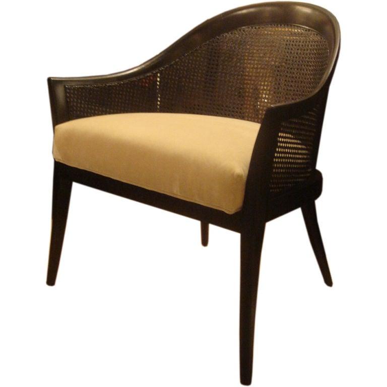 Awesome Ebonized Mahogany U0026 Cane Occasional Chair By Harvey Probber 1