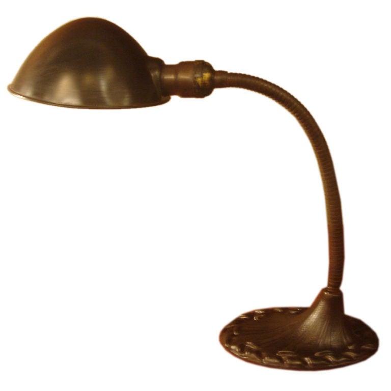 antique desk lamp in patinated brass by aladdin co at 1stdibs. Black Bedroom Furniture Sets. Home Design Ideas