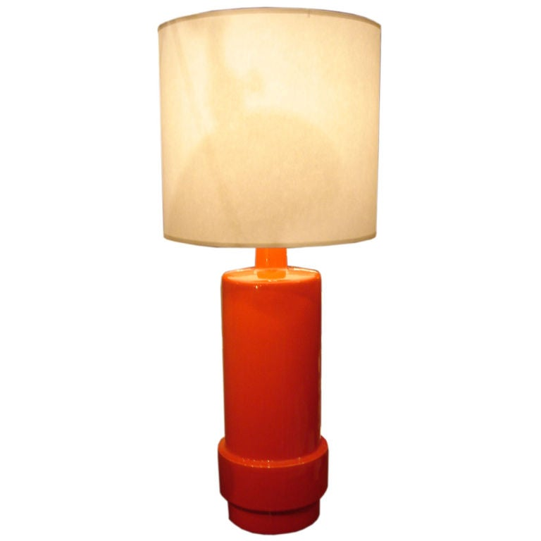 Vintage Orange Glazed Ceramic Stepped Table Lamp At 1stdibs