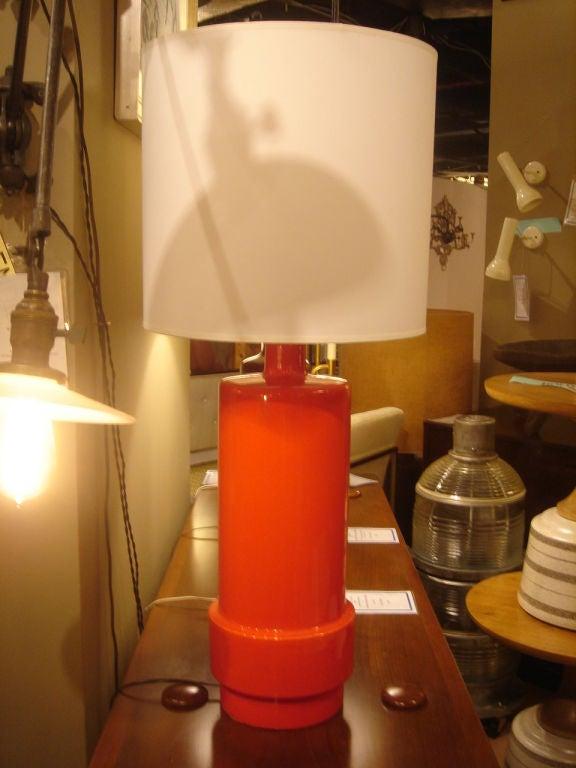 Vintage Orange Glazed Ceramic Stepped Table Lamp At 1stdibs