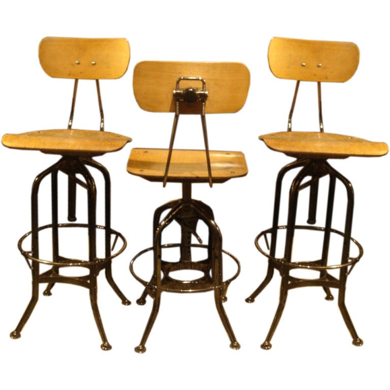Set Of 3 Vintage Toledo Industrial Stools At 1stdibs