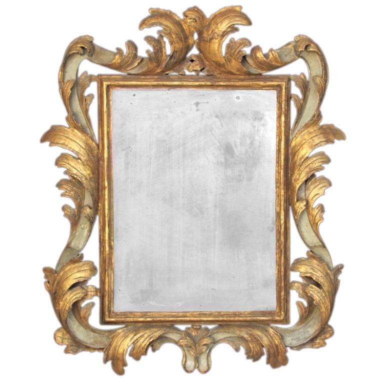 Italian baroque giltwood and gray painted rectangular for Rectangular baroque mirror
