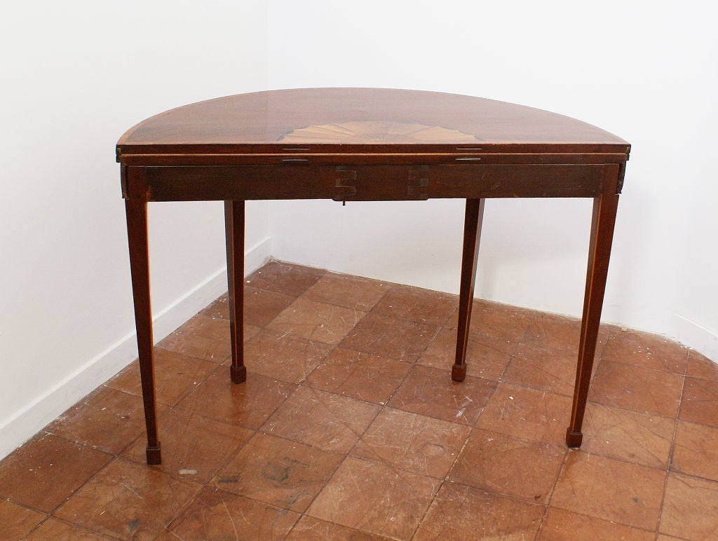 Inlaid demi lune card table at 1stdibs - Table demi lune murale ...
