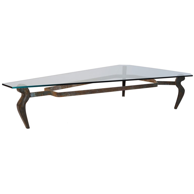 Decorative Iron And Glass Coffee Table At 1stdibs
