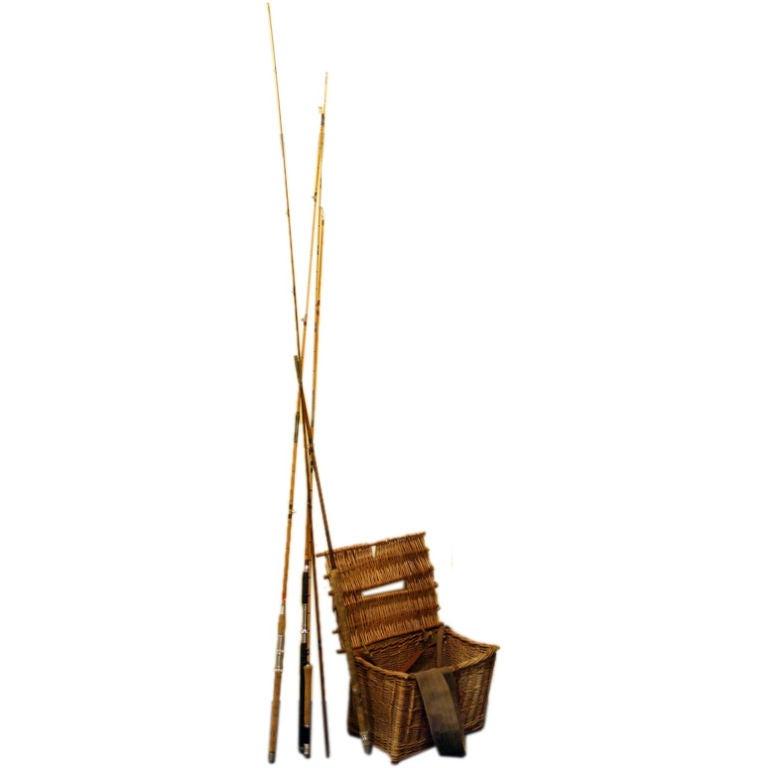 Vintage split cane fishing rods fish basket england at for Antique fishing poles