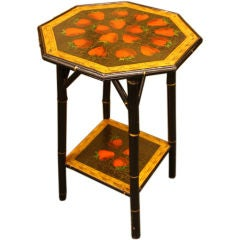 Antique English Bamboo Side Table, New Strawberry Decoupage