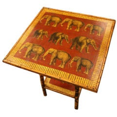 "Decoupaged ""Elephants"" Antique Bamboo Table, England"