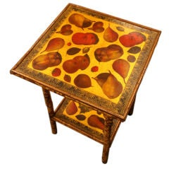 Antique English Bamboo Table, Decoupaged Fruits