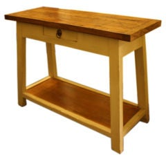 Thick Top Pine Potboard Server with Painted Base