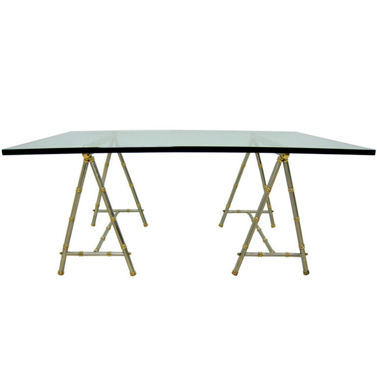 Maison Jansen Brass And Steel Sawhorse Cocktail Table At 1stdibs