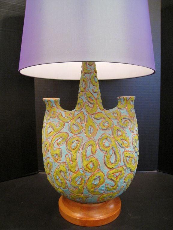 Terracotta Pair of  Large Italian Volcanic Glaze  Lamps