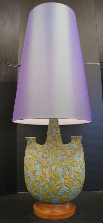 Pair of  Large Italian Volcanic Glaze  Lamps 3