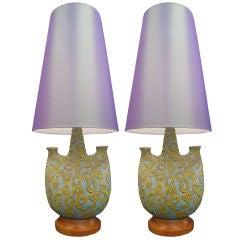 Pair of  Large Italian Volcanic Glaze  Lamps