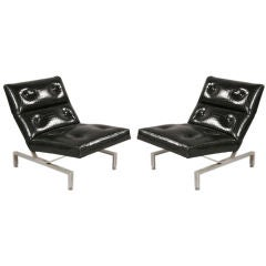 Pair of European Cantilevered Modernist Chairs with Faux Alligator Upholstery