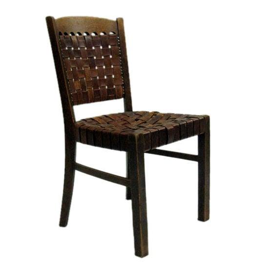 Early Modern  Jugendstil  Leather Strap Desk Chair  Germany. Early Modern  Jugendstil  Leather Strap Desk Chair  Germany  circa