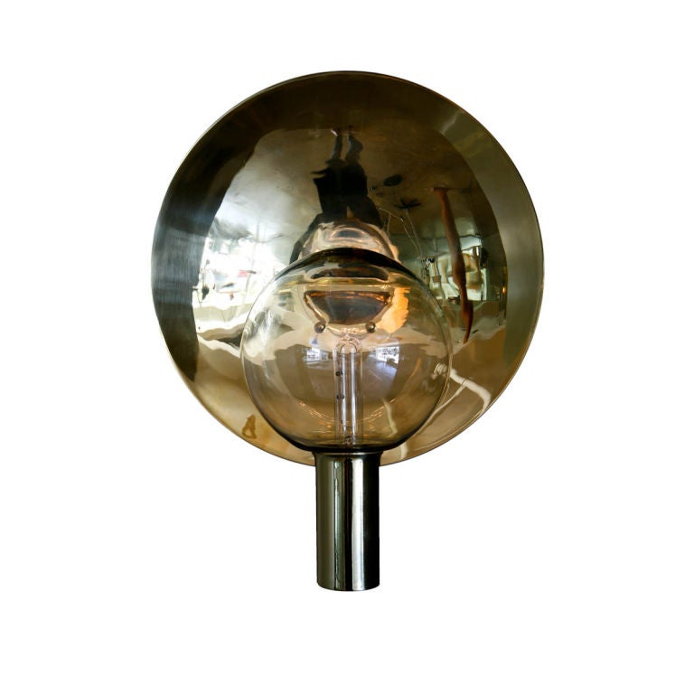 Wall Sconces Blown Glass : Rewire Custom Brass and Blown Glass Sconce at 1stdibs