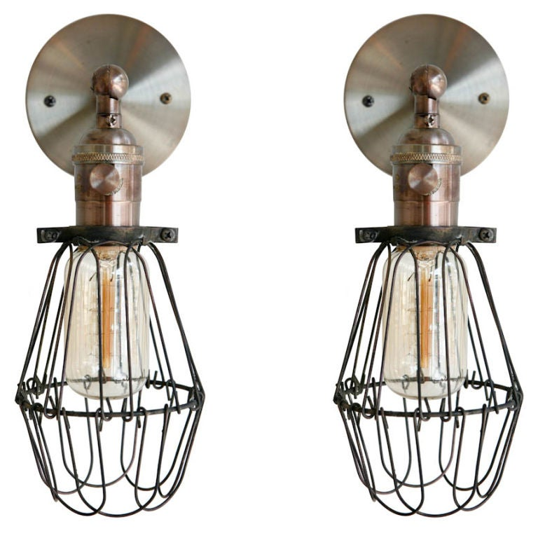 Wall Sconces No Wiring : Rewire Custom Wire Cage Sconces at 1stdibs