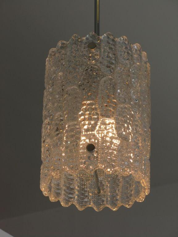 Set Of 3 Clear Glass Orrefors Pendant Lights Image 3