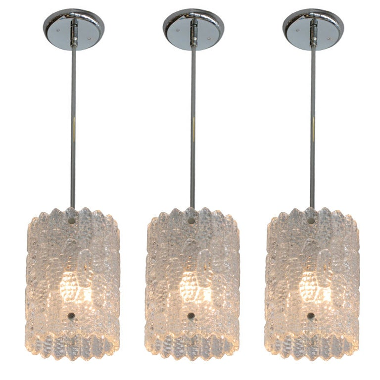 Set Of 3 Clear Glass Orrefors Pendant Lights At 1stdibs